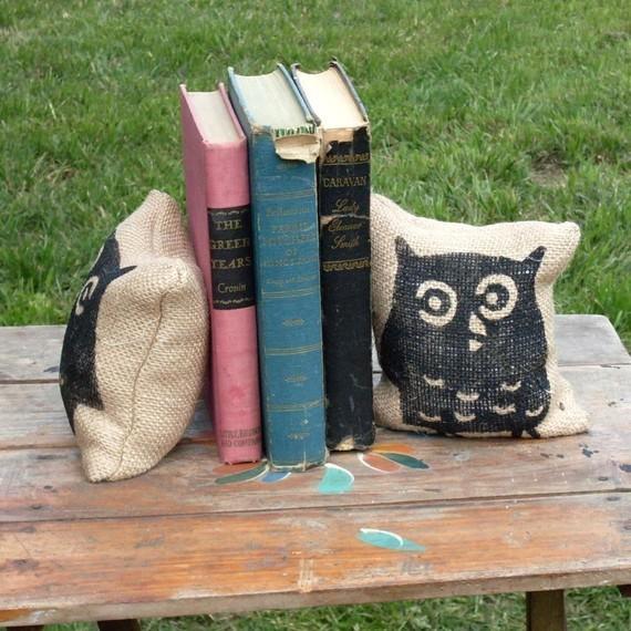 Owl Petit Burlap Feed Sack Pillow by Next Door to Heaven modern-home-decor