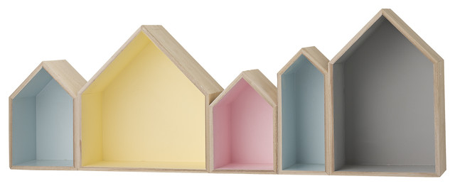 Row Houses Box Shelf Pastel Contemporary Display And Wall Shelves By Bohomodern