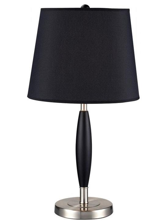 Joshua Marshal - One Light Black Black Shade Table Lamp - Finish: Black