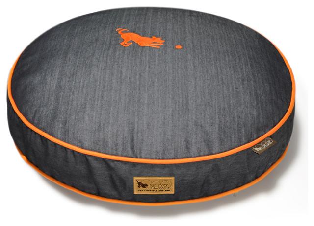 Round Bed - Denim - Orange - L contemporary-dog-beds