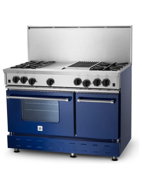 "48"" BlueStar RNB Gas Range - Cobalt Blue (RAL 5013) RNB 48"" Gas Range has 4 Top Burners with Charbrolier and Griddle."