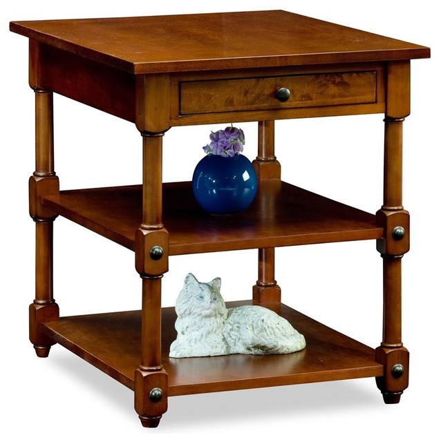Cardamon Tiered Shelf End Table - Russet Fini contemporary-side-tables-and-accent-tables