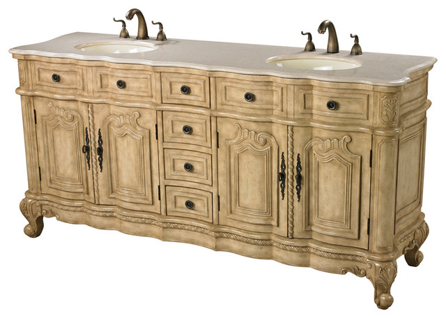 Antique Cream Double Vanity Unit In Antique Cream Traditional Bathroom Vaniti