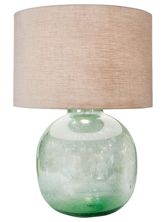 """Regina Andrew - Regina-Andrew Seeded Recycled Glass Vessel Table Lamp - Topped with a soft-colored lamp shade this gorgeous glass table lamp is constructed in seeded recycled glass material. Create a perfect arrangement by adding this styles in pairs in opposite night stands. From Regina-Andrew. Glass table lamp. Recycled seeded glass. Vessel shape. Maximum 150 watt or equivalent bulb (not included). 3-way switch. Shade measures 19"""" across the top and bottom 12"""" high. 19"""" wide. 30"""" high.   Glass table lamp.  Recycled seeded glass.  Vessel shape.  Maximum 150 watt or equivalent bulb (not included).  3-way switch.  Shade measures 19"""" across the top and bottom 12"""" high.  19"""" wide.  30"""" high."""
