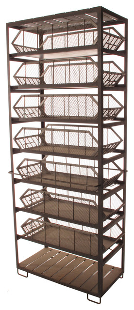 Industrial Loft Large Commissary Mesh Basket Storage Cabinet industrial-storage-units-and-cabinets