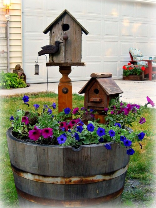 A whiskey barrel planter for Jardin winery