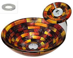 Polaris p126 Stained Glass Vessel Sink & Matching Glass Waterfall Faucet with dr modern-bathroom-vanities-and-sink-consoles