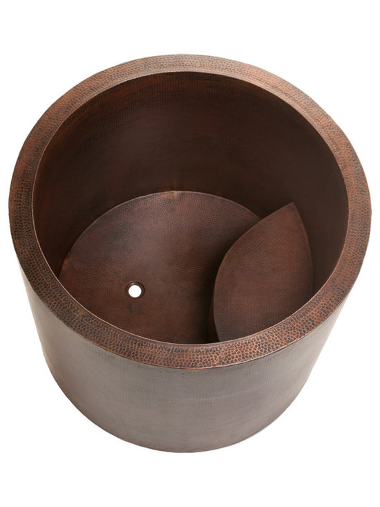 Premier Copper Products - Japanese Style Soaking Copper Bath Tub - Infuse a little extra luxury in your bathroom with this copper-hammered soaking tub. Deeper than a regular tub, this is a great way to wash away the cares of the day. It's the perfect way to create a haven for a smaller bathroom.