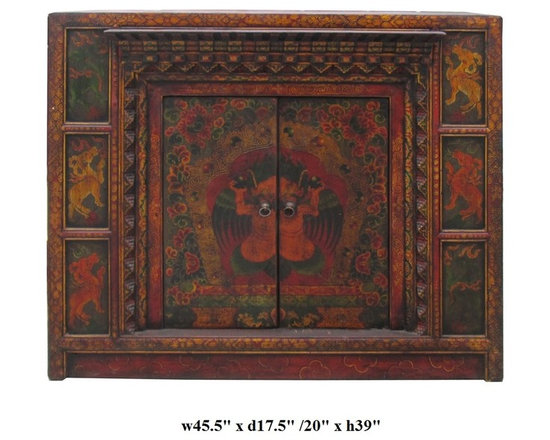 Oriental Tibetan Style Animal Pattern Offer Table Cabinet - This is an old cabinet restored with hand drawing Tibetan animal & flower pattern and motif. There are hand carved accent around the doors. A small platform is built for offering display. It can be used simply as an accent cabinet with its special decorative graphic.