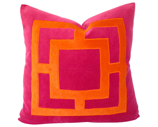 Therese Marie Designs - Pink and Orange Velvet Applique Pillow Cover - Pink and orange geometric pillow cover. Hand-cut orange cotton velvet is appliqued onto a square of fuchsia velvet. All fabrics are medium weight.