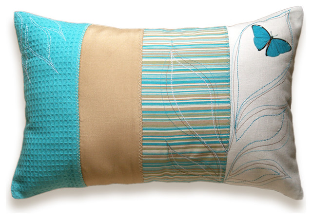 patchwork stripes decorative lumbar pillow cover 12x18