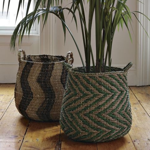 Patterned Planter Baskets eclectic-baskets