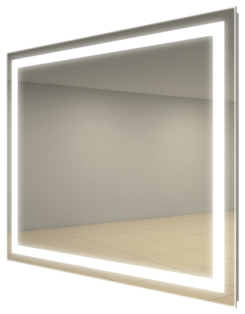 Integrity square lighted mirror by electric wall