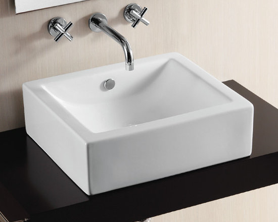 "Caracalla - Gorgeous Modern Square Ceramic Vessel Sink by Caracalla - Gorgeous modern high quality white ceramic sink designed in Italy by Caracalla. Square above counter vessel sink with curved washbasin comes without overflow. Sink has no faucet hole options. Sink dimensions: 19.68"" (width), 6.10"" (height), 17.72"" (depth)"