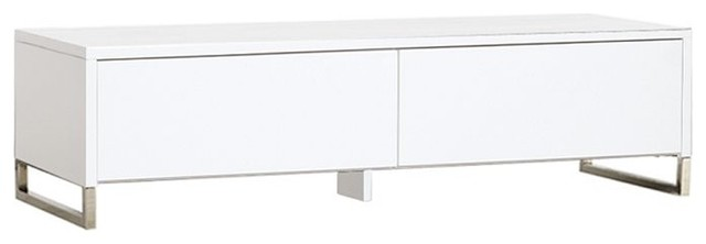 Hudson Media Console, White Finish contemporary media storage