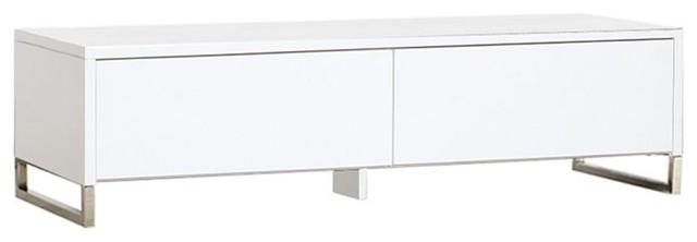Hudson Media Console, White Finish contemporary-media-storage