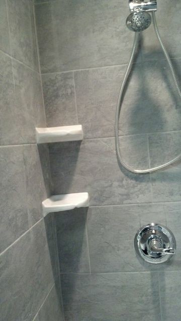 Stone Shower with White Corner Shelves - Traditional - Bathroom - new york - by Fiorano Tile ...