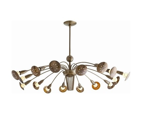 Arteriors Valdez 16 Light Vintage Brass Adjustable Arm Chandelier - Valdez 16 Light Vintage Brass Adjustable Arm Chandelier