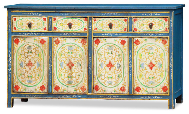 Hand painted elmwood tibetan cabinet asian furniture for Hand painted oriental furniture