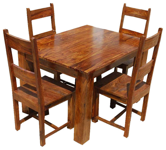 Dining Room Sets Rustic: Rustic Mission Santa Cruz Solid Wood Dining Set For 4