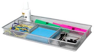 Silver mesh desk organizer by design ideas modern desk - Modern desk accessories and organizers ...
