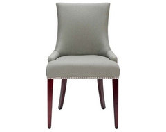 Safavieh Mercer Collection Eva Linen Dining Chair With Nailhead Trim, Gray contemporary-dining-chairs