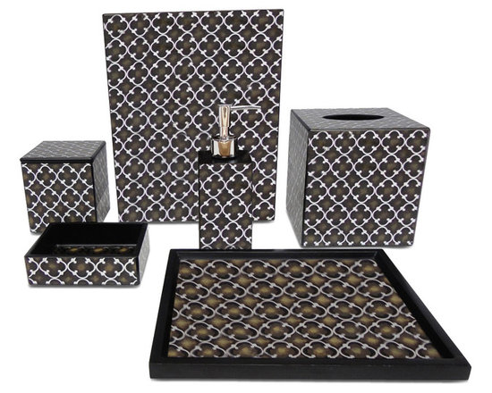 Waylande Gregory Brown Iron Gate Bathroom Set - Give your bathroom the spa makeover it deserves with this elegant and sophisticated set of bathroom accessories. Each piece is done in sleek brown and silver and features a gorgeous geometric motif that adds to the allure. Purchase a few pieces individually to make a modest impact in your powder room or commit to the entire set to really transform your space.