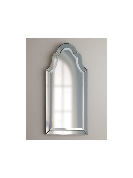 """Horchow - Hovan Mirror - Frameless, arched mirror has polished edges for a smooth, clean finish. Etching and V-shaped grooves give it wonderful character. Handcrafted. Beveled. 21""""W x 1""""D x 44""""T. Imported."""