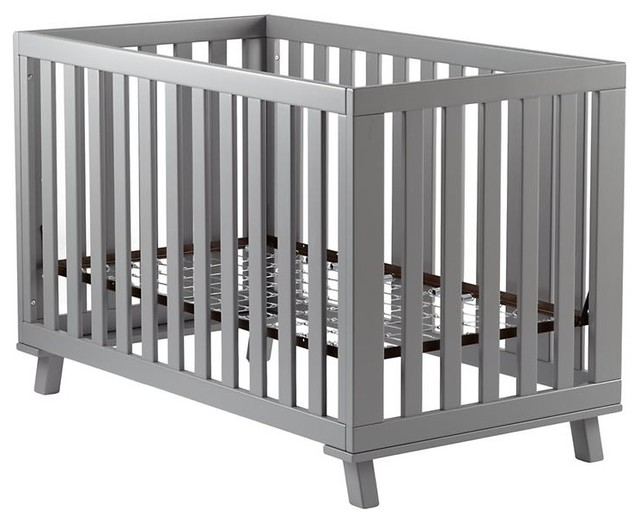 Gray Low-Rise Crib, Gray Frame and Gray Base modern-cribs