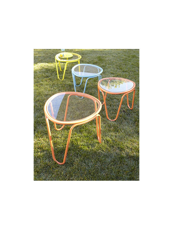 "Horchow - Two ""Scoop"" Side Tables - Colorful and trendy, these lightweight, stackable tables are great for small patios or balconies, picnics, camping—outdoor events of all kinds. Made of aluminum and resin. Powder-coated finish. Select color when ordering. Tempered glass tops....."