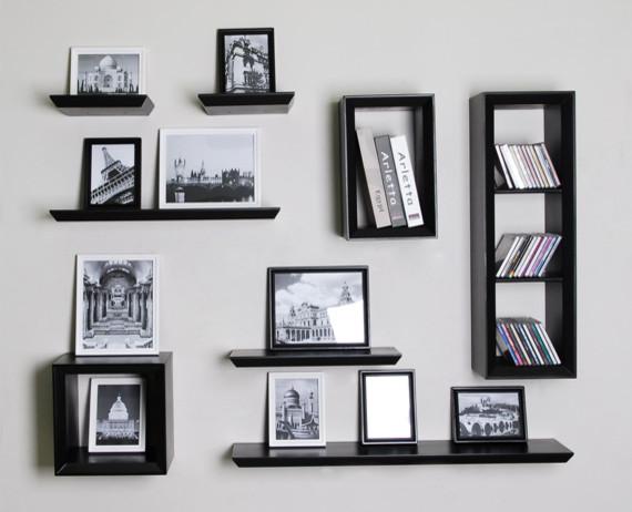 Modern Floating Shelves Decorating Ideas: Wall Floating Shelf And Cube Shelvings Sets