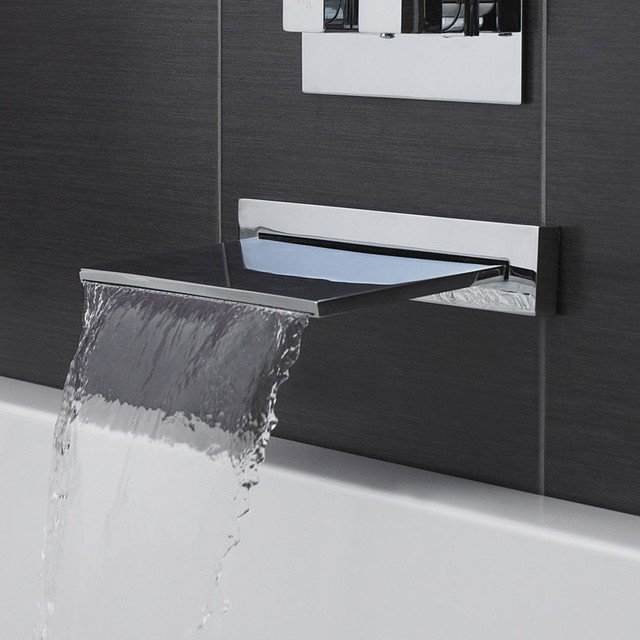 Contemporary Waterfall Tub Filler Bathroom Faucet Deck Mounted Brass Bath Spout modern-bathroom-faucets-and-showerheads