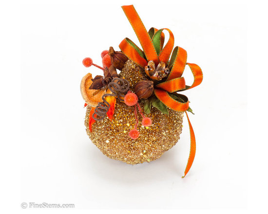 Gold Pumpkin - Add fresh fall colors to warm up your home this season with these one-of-a-kind pumpkins! Handcrafted, gold encrusted pumpkin