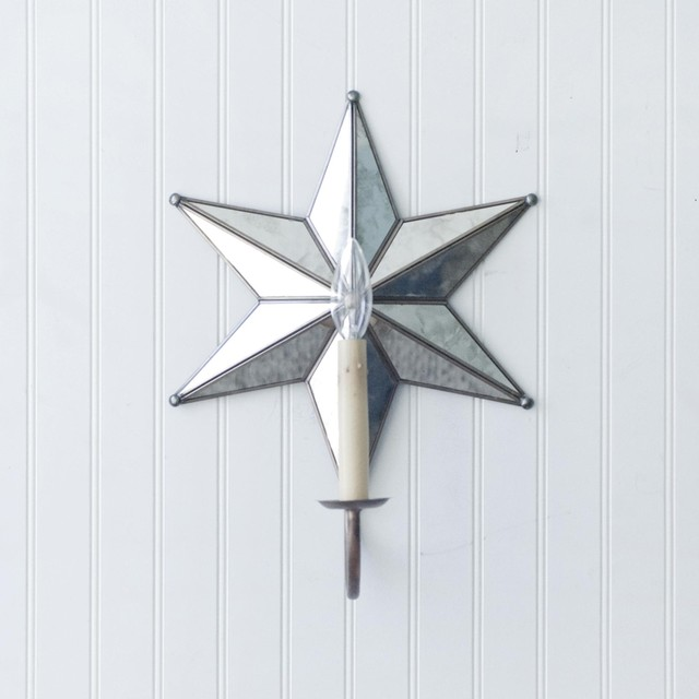 Worlds Away 5 Pointed Star Antique Mirror Sconce - Wired - Traditional - Wall Sconces - by ...