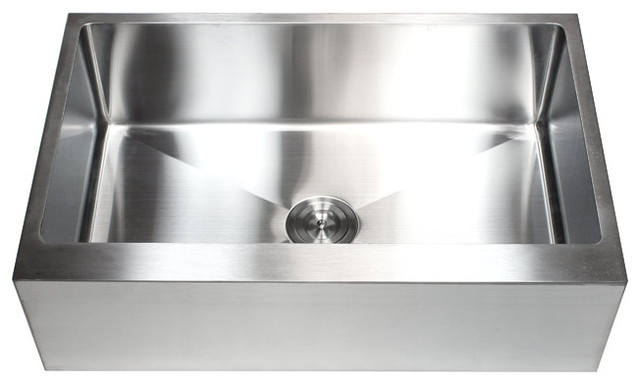 33 Inch Apron Front Sink : 33 Inch Stainless Steel Flat Front Farm Apron Single Bowl Kitchen Sink ...