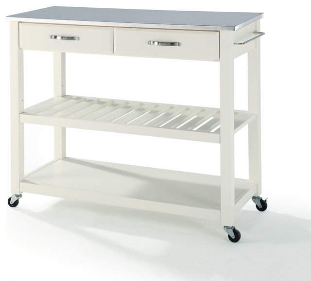 Stainless Steel Top Kitchen Cart Island With Optional Stool Storage Contemporary Kitchen