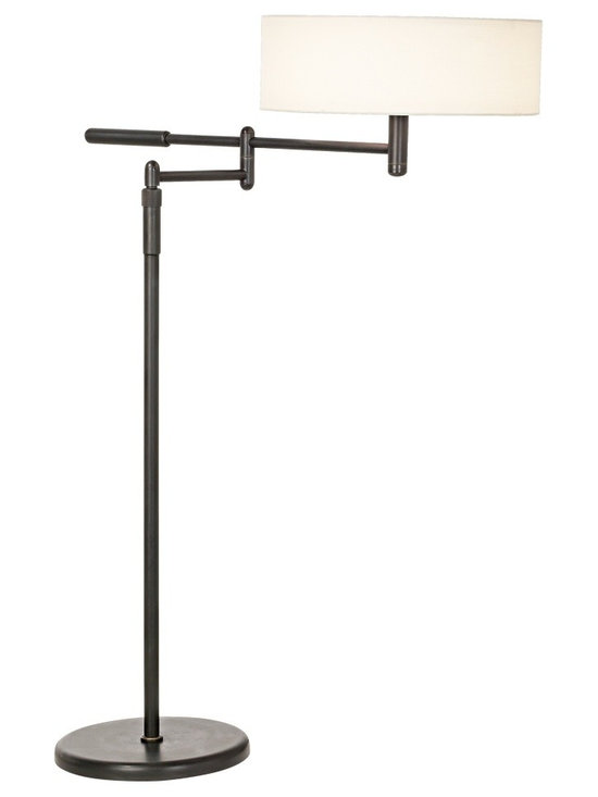 "Sonneman - Sonneman Perno Black Brass Swing Arm Floor Lamp - Reward your sense of style with this contemporary lamp design from Robert Sonneman with a black brass finish the design is ideal next to a sofa or reading chair. Adjust the lamp pole height and swing arm for the optimal lighting angle. Off-white linen shade adds to the contemporary feel. Takes two 60 watt bulbs (not included). Adjusts from 41"" to 53"" high. 16 1/2"" arm extension. 11"" diameter base. Shade is 5"" high 15"" wide.  Black brass finish.  Linen shade.  Takes two 60 watt bulbs (not included).   Adjusts from 41"" to 53"" high.   16 1/2"" arm extension.   11"" diameter base.   Shade is 5"" high 15"" wide."