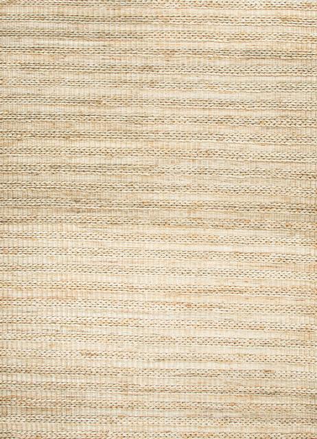 Natural Stripe Pattern Hemp/Jute Beige /Brown Woven Rug - HU13, 8x10 traditional-area-rugs