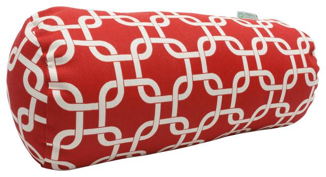Indoor Red Links Round Bolster modern-decorative-pillows