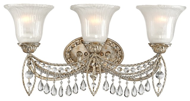 Traditional antique silver and crystal 3 light 23 wide for Bathroom crystal light fixtures