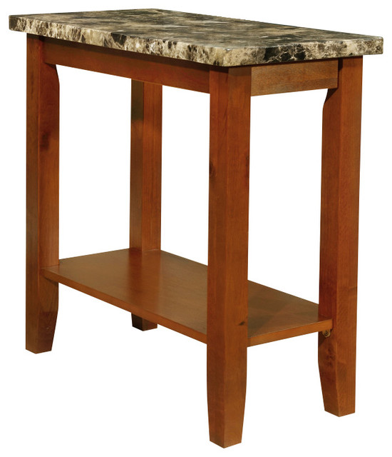 Walnut Black Chairside Sofa End Accent Table Faux Marble Tabletop Storage Shelf Contemporary