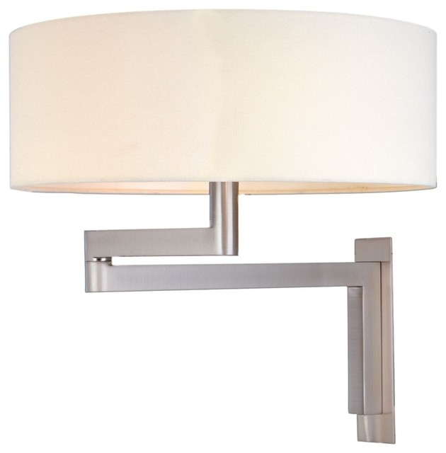 sonneman osso satin nickel plug in swing arm wall lamp