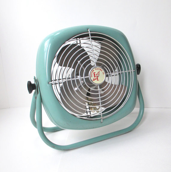 Vintage Industrial Turquoise Electric Box Floor Fan By The