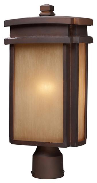 Elk Lighting 42145 1 1 Light Outdoor Post Light N Clay Bronze Modern Post