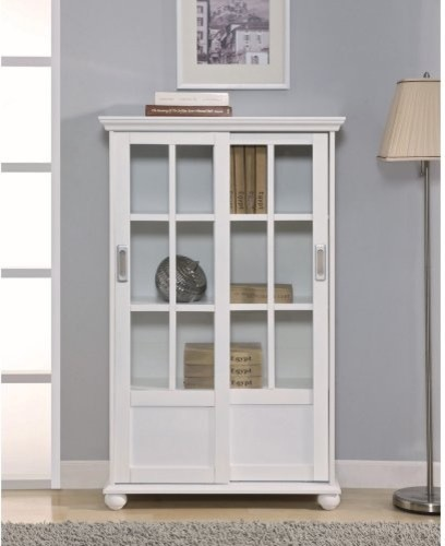 Altra Bookcase with Sliding Glass Doors - White contemporary-bookcases