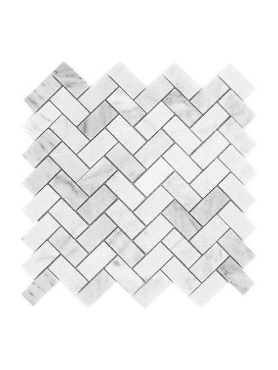 Tiles R Us - Carrara White Marble Polished Herringbone Mosaic Tile, Box of 5 Sq. Ft. - - Italian Carrara White Marble Polished 1x2 Herringbone Mosaic Tile.