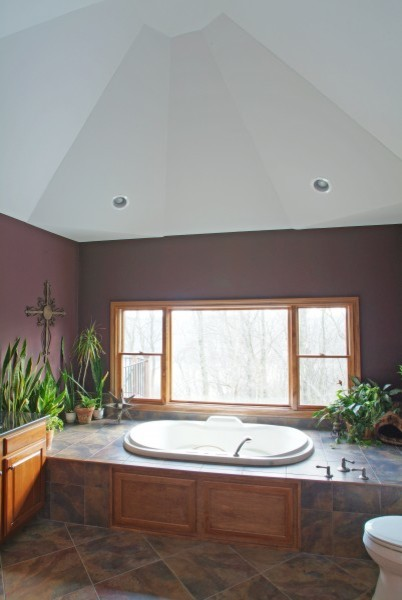 Master bath with unique vaulted ceiling traditional bathroom for Master bathroom vaulted ceiling