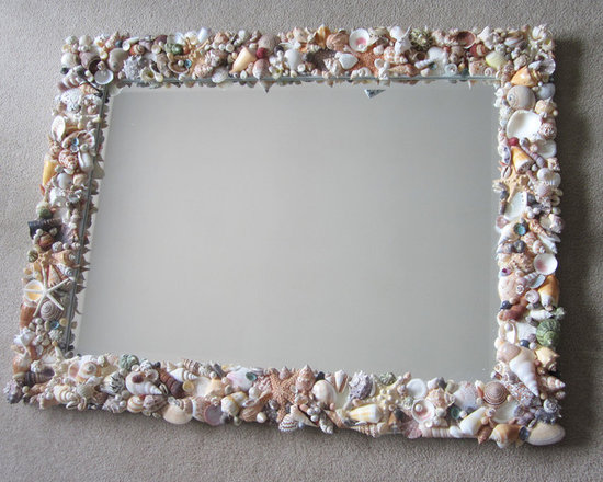 Seashell Mirrors for Beach Decor - Nautical Decor Shell Mirror in Natural or All - Seashell mirrors for beach decor. My handmade nautical decor shell mirrors are custom made, fully covered in natural seashells and starfish. Great nautical decor in a large rectangular size perfect for over couch or mantle. Furniture quality beveled mirror.