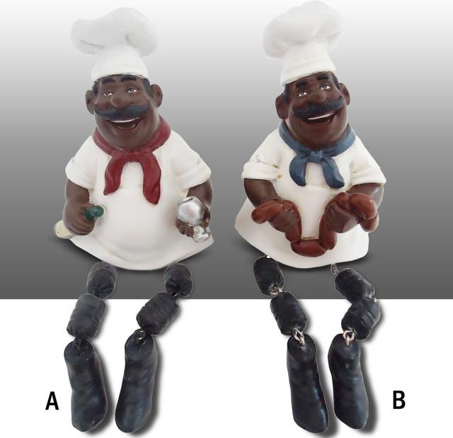 Black Chef Kitchen Figure Shelf Sitter Art Decor Complete