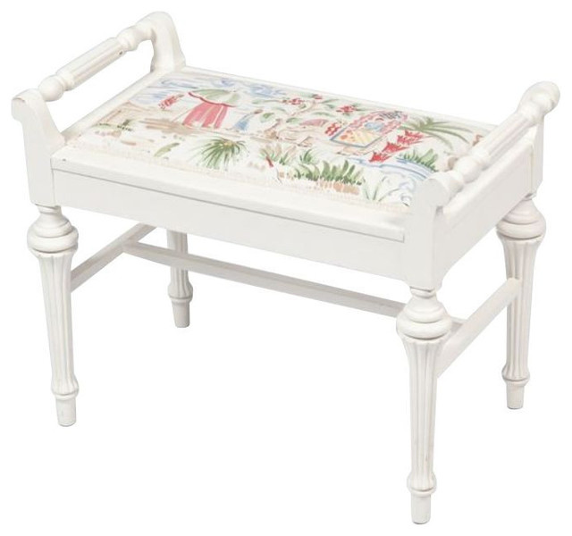 sold out small white bench with chinoiserie seat 199